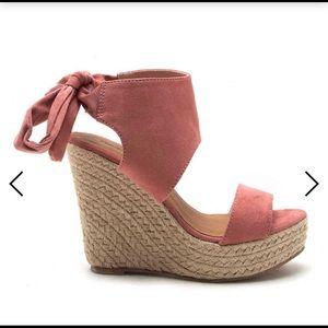 Qupid Boston Bow-Back Wedge Espadrille Sandal Pink